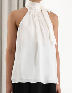 Gathered Bow Tie Blouse - Pearl