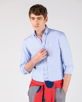 Pin Point Flag Classic Button Down  - Blue