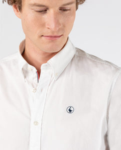 Pin Point Flag Classic Button Down - White