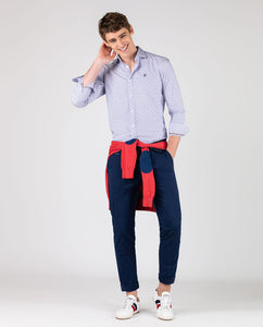 Poplin Stripes Dot Button Down - Blue/Red