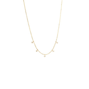 14K 5 Tiny Dangling Diamonds Necklace