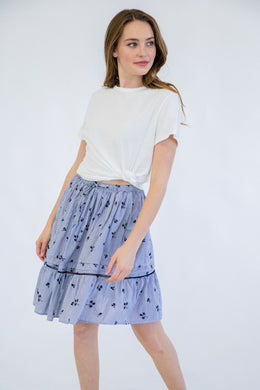 Embroidered Isabel Skirt - Navy/White