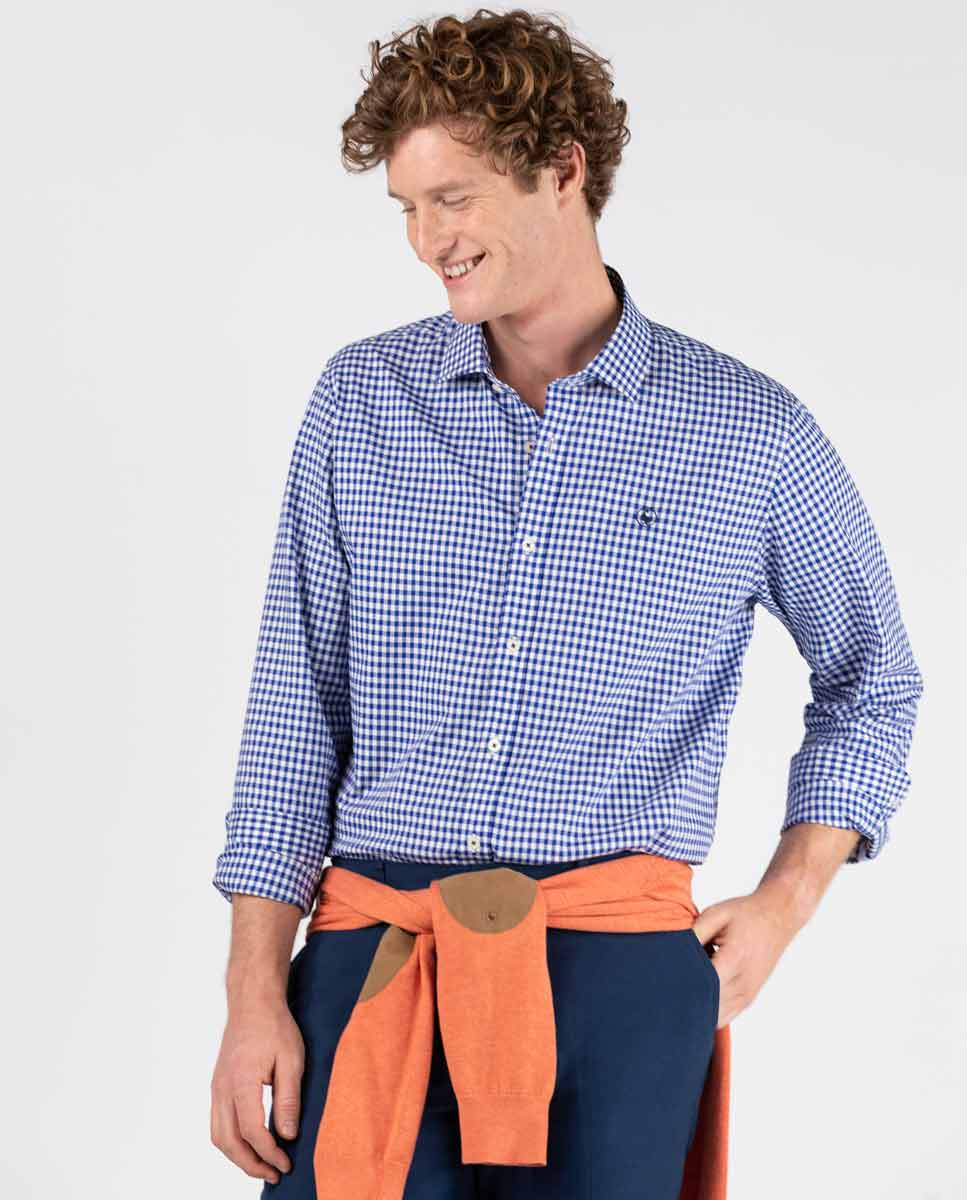 Pin Point Vichy Button Down - Navy