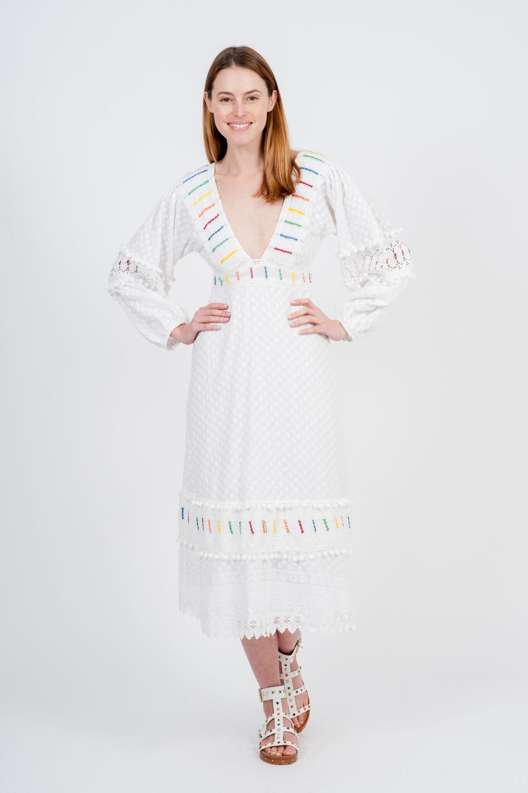 Menton Maxi Dress - White Embroidery