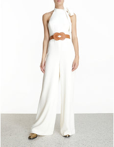 Crepe Belted Jumpsuit - Pearl