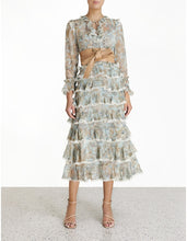 Load image into Gallery viewer, Ladybeetle Tiered Frill Midi Dress - Sky Jacobean