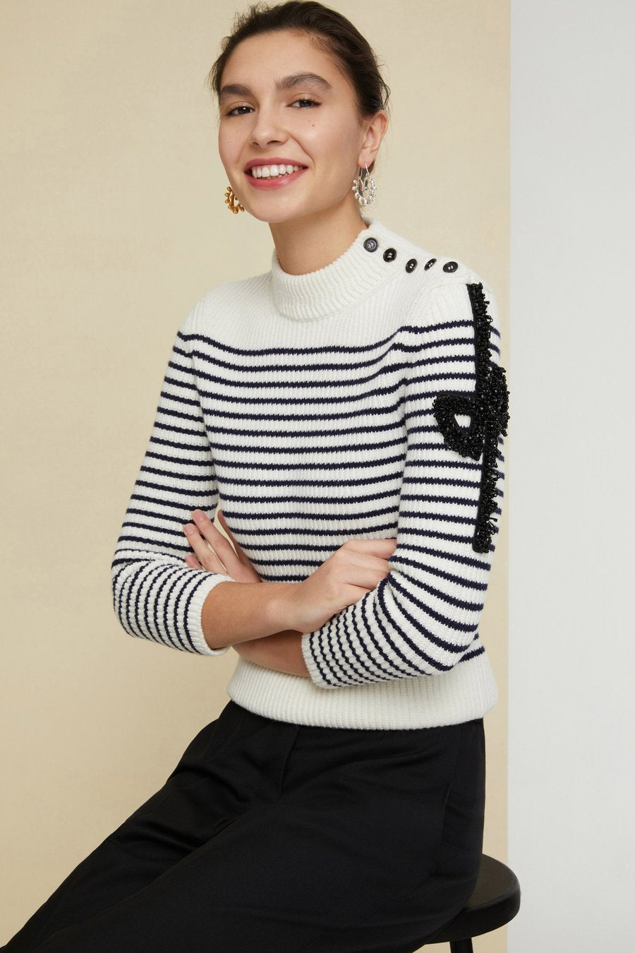 Iconic Jeweled Breton Jumper - Cream