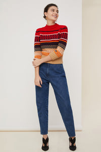 Cropped Jacquard Jumper - Multi