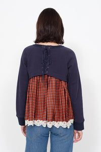 Ethno Pop Sweatshirt - Navy/Orange Check