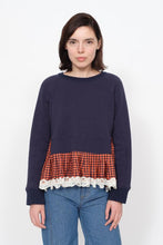 Load image into Gallery viewer, Ethno Pop Sweatshirt - Navy/Orange Check
