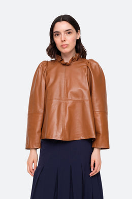 Lora Leather Top - Caramel