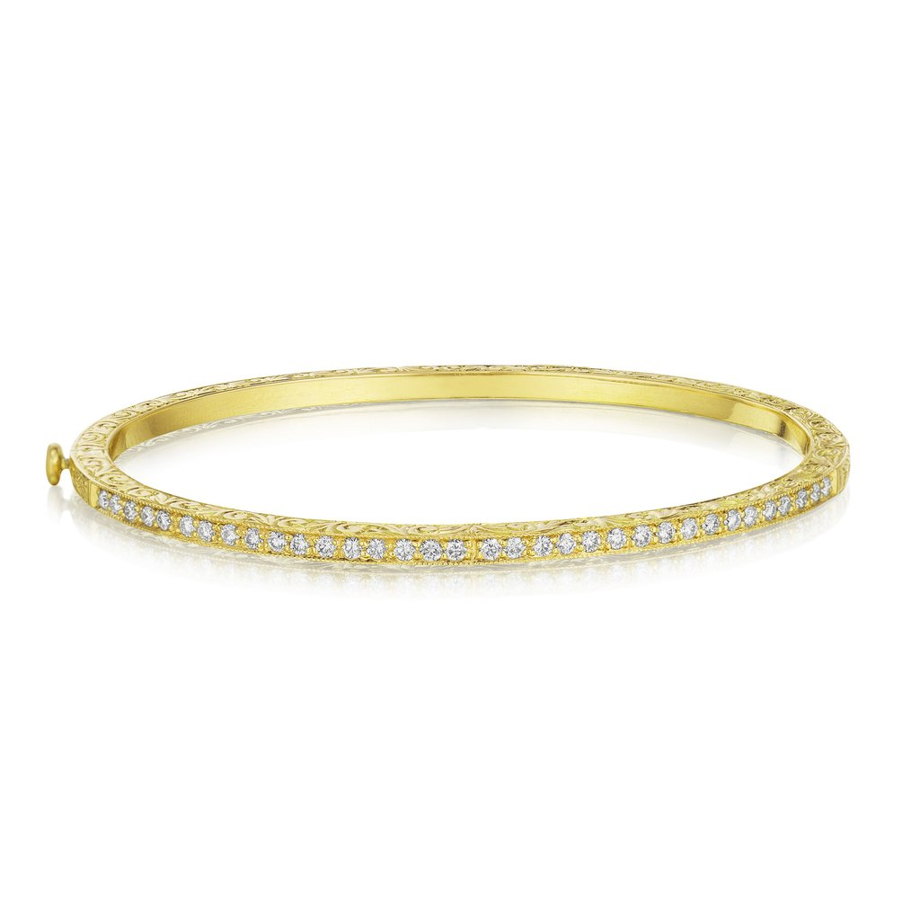 Thin Diamond Bangle - Yellow Gold