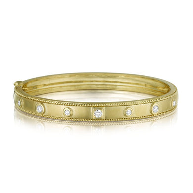 Round & Square Diamond Stacking Bangle - Yellow Gold
