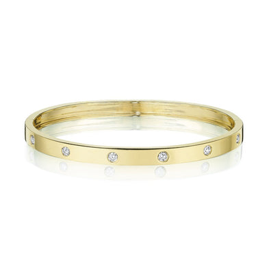 Round Station Diamond Bangle - Yellow Gold
