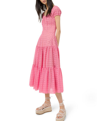 Cap-sleeve Tiered Dress - Flamingo