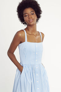 Laura Dress - Blue Gingham