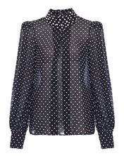 Load image into Gallery viewer, Beaded Polka Dot Blouse - Black/White