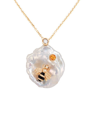 Bee My Honey Necklace - Pearl, Diamond, Sapphire
