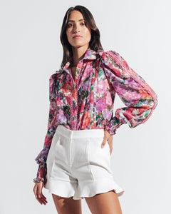 Blossom Button Front Blouse - Rose
