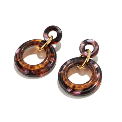 Golden Double Ring Earrings - Rose Tortoise