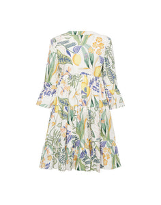 Short Jennifer Jane Dress - Botanical Cotton Poplin