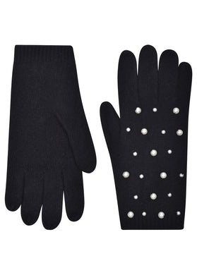 Pearl Scattered Gloves - Black