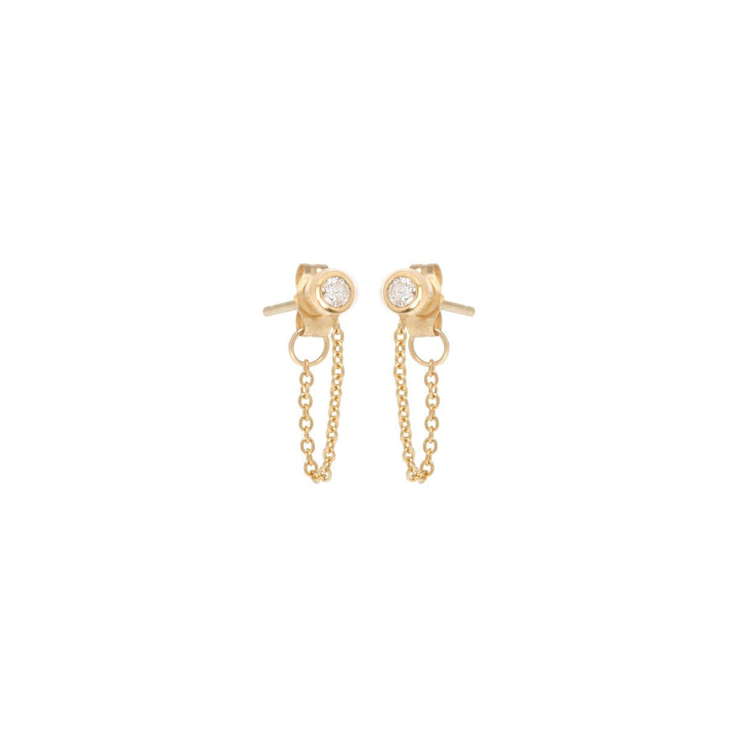 14K Diamond Bezel Chain Stud Earrings