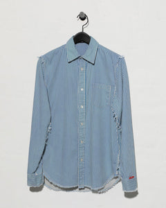 Frayed Edge Shirt - Blue/White Stripe