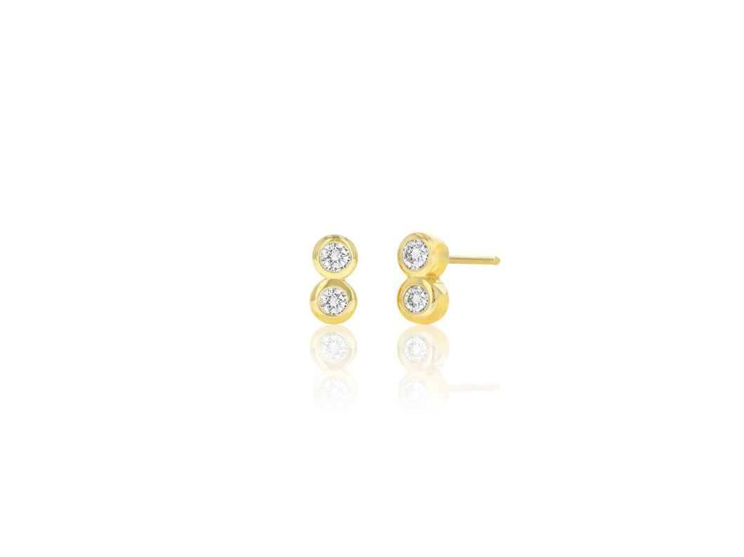 Diamond Duo Stud - 14k Yellow Gold