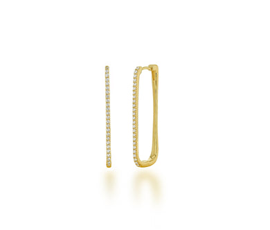 Large Diamond Square Hoop - Yellow Gold