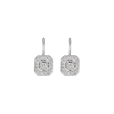 Classic Emerald Shape Earrings - White Gold