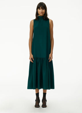 Eco Silk Dropwaist Dress - Pine Green