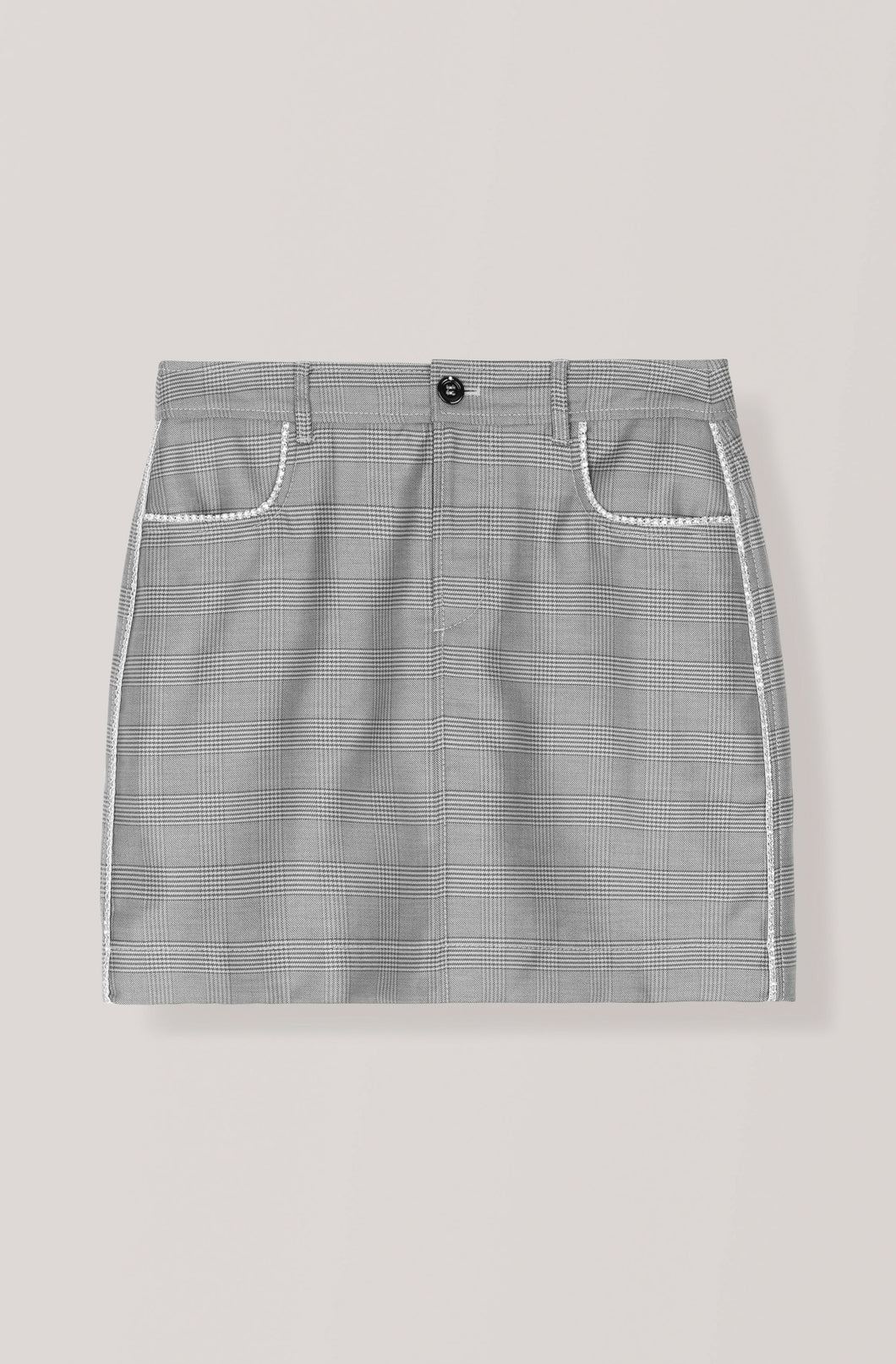 Silk Wool Suiting Mini Merkel Skirt - Paloma Melange