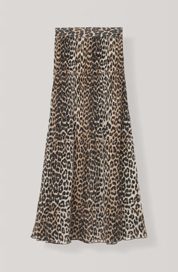 Pleated Georgette Skirt - Leopard