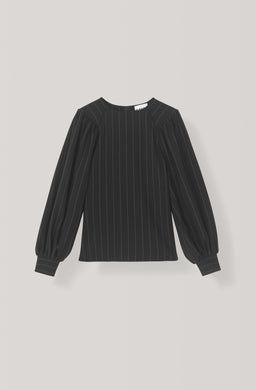 Heavy Crepe Stripe Blouse - Black