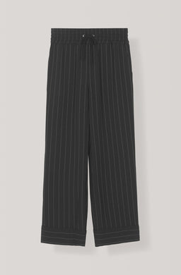 Heavy Crepe Stripe Wide Pants - Black