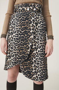 Wrap Skirt - Denim Leopard