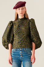 Load image into Gallery viewer, Jacquard Blouse - Olive Leopard