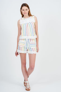 Fayence Short - White Candy Stripe