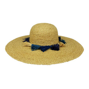 Tassels Hat - Blue/Natural