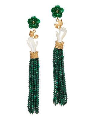 Bloom Earrings - Pearl/Malachite