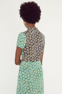 Morgan Dress - Black/Green Daisy Combo
