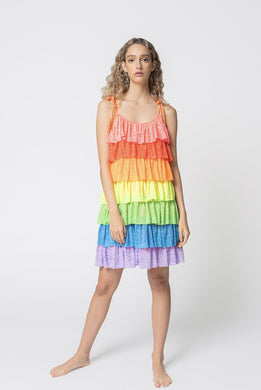 Tiered Mini Dress - Bright Rainbow