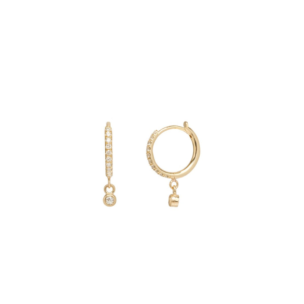 14K Dangling Bezel Diamond Pave Diamond Huggie Hoops