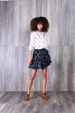 Georgie Skirt - Navy Stripe Flower
