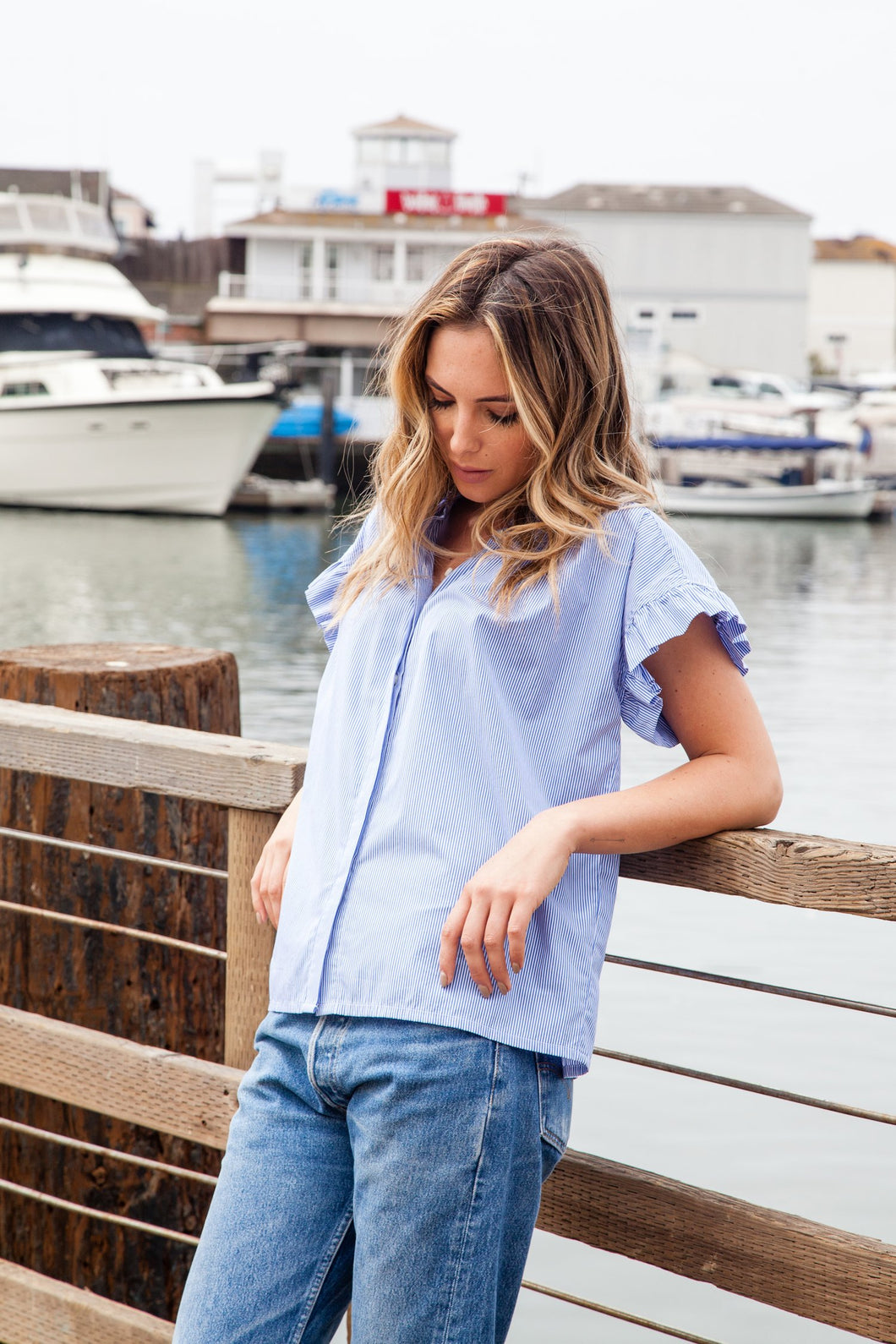 Marianne Shirt - Blue/White Stripe