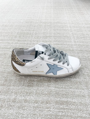 Superstar Sneaker - White, Gold, Blue