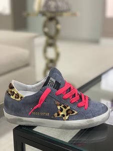 Superstar Sneaker - Gray Blue/Leopard/Pink