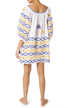 Load image into Gallery viewer, Boho Dress - Blue/Mustard/Pink