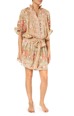 Nomad Blouson Dress - Sand/Coral